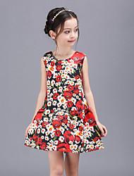 Girl's Multi-color Dress,Floral Polyester Summer