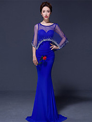 Formal Evening Dress - Ruby / Royal Blue / Black Trumpet/Mermaid Scoop Sweep/Brush Train Chiffon