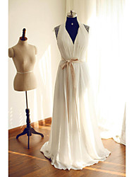 A-line Wedding Dress Sweep / Brush Train Halter Chiffon / Lace with Beading / Lace / Sash / Ribbon