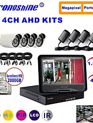 Strongshine® AHD Camera with 720P/Infrared/Waterproof and 4CH AHD DVR with 10.1 Inch LCD/1TB Surveillance HDD  Kits