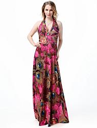 De las mujeres Tallas Grandes / Corte Swing Vestido Boho / Playa Floral Maxi Escote en V Profunda Poliéster