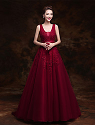 Formal Evening Dress - Burgundy Ball Gown V-neck Sweep/Brush Train Tulle