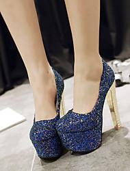 Women's Shoes  Heel Heels / Round Toe Heels Wedding / Party & Evening / Dress Black / Blue / Silver/d-14