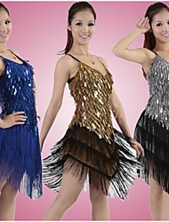 Latin Dance Dresses Women's Performance Sequined1 Piece Black And Silver / Gold / Green / Ivory / Royal Blue / White