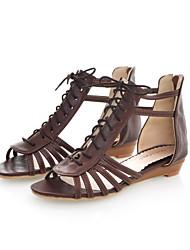Women's Summer Leatherette Casual Dress Low Heel Zipper Lace-up Black Brown Beige