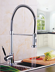 Deck Mounted Single Handle Spring Pull Down Kitchen Faucet Solid Brass Chrome Finish Pull Out Sprayer Mixer Tap K40CF16