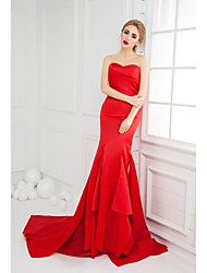 Formal Evening Dress Trumpet / Mermaid Sweetheart Sweep / Brush Train Satin with Ruffles