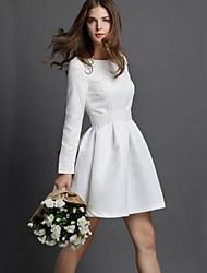 Women's Party/Cocktail Vintage Skater Dress,Solid Round Neck Above Knee Long Sleeve White / Black Nylon Summer