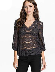 Damen T-Shirt  -  Spitze Baumwolle ¾-Arm V-Ausschnitt