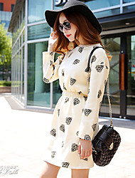 Pink Doll®Women's Work / Casual / Day Print A Line Dress , Round Neck Above Knee Bocycon Dresses Cotton / Polyester
