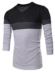 Men's Fashion Slim Spell Color Sweater , Cotton / Polyester Long Sleeve