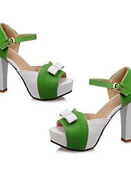 FemininoSaltos / Peep Toe / Plataforma-Salto Grosso-Azul / Verde / Vermelho-Courino-Escritório & Trabalho / Social / Casual