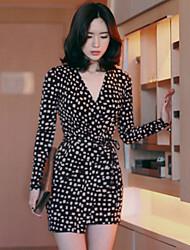 Korean Style Women's Work / Casual / Day Polka Dot Shirt Dress , Deep V Mini Polyester
