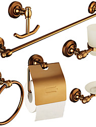 Europe Antique Bathroom Accessory Set with 6 Items Aluminum Wall Mounted Bathroom hardware Set
