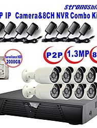 strongshine®ip camera met 960p / infrarood / waterdicht en 8CH h.264 NVR / 2TB surveillance hdd combo kits