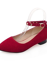Women's Shoes Suede Low Heel Mary  / Pointed Toe Flats Office & Career / Dress / Casual Black / Red / Gray