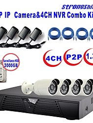 strongshine®ip camera met 960p / infrarood / waterdicht en 4ch h.264 NVR / 2TB surveillance hdd combo kits