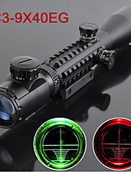C3-9X40EG 3~9X Tactical Optical Fishbone Rifle Scope Red Green Dual illuminated with Side Rails & Mount Hunting Airsoft