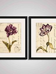 Framed Purple Flower Painting Modern Canvas Print Art for Office, Kitchen, Living room Decoration Set of 2 Ready To Hang