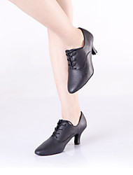 Non Customizable Women's Dance Shoes Latin / Dance Sneakers Leather Cuban Heel Black