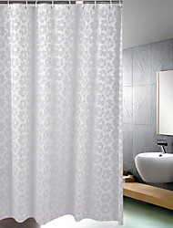 Home Flower Design Bath Curtain PEVA Mould Proof Waterproof Shower Curtains White Shower Curtain, 180*180