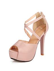 Women's Sandals Spring Summer Fall Comfort Ankle Strap Club Shoes PU Wedding Dress Party & Evening Stiletto Heel ZipperGold Silver