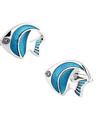 Toonykelly® Fashion Copper Silver Plated Cute Fish Enamel Gift Button Cufflinks(1 Pair)
