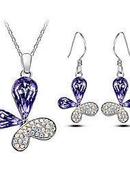 Jewelry Set Elegant Crystal Butterfly Pendant Necklace Earring Gift for Bride