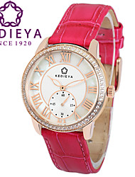 KEDIEYA Rose pink Genuine Leather Zircon Diamond Mosaic Small Second Dial Rose Gold Case Watch Ladies Women Watches