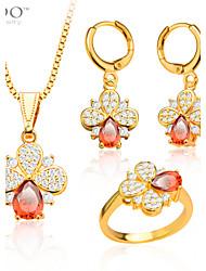 Ensemble de bijoux Rubis Gemme Cristal Plaqué or Imitation de diamant Goutte Or Mariage Soirée Quotidien Décontracté 1setColliers