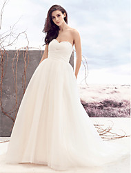 A-Line Sweetheart Court Train Tulle Wedding Dress with Beading Criss-Cross by LAN TING BRIDE®