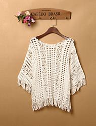 Court Pullover FemmeCouleur Pleine Blanc ½ Manches Polyester Spandex Printemps Fin Micro-élastique