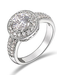 T&C Women's Fashion Jewelry with Sparkling Round Cz Diamond Crystal Pave Halo Engagement Rings
