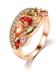Hot Sale Unique Fashion Multicolor 18K Rose Gold Plated AAA Zircon Engagement/Weddding bijoux Rings Fine Jewelry