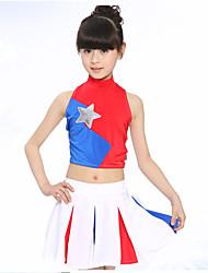 Costumes de Pom-Pom Girl Enfant Spandex 2 Pièces Sans manche Taille basse Jupes Hauts