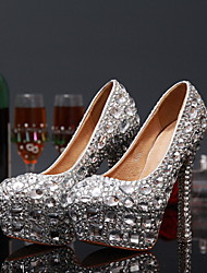 Women's Spring Summer Fall Winter Leather Wedding Party & Evening Stiletto Heel Crystal Red White