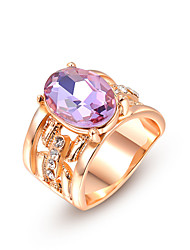 T&C Women's Luxury Rose Gold Plated Purple Austrian Crystal Index Finger Rings Romantic Party Jewelry