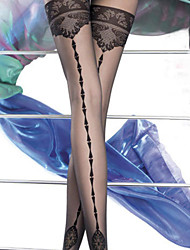 Black Sheer Lace Patterned Thigh High Stockings
