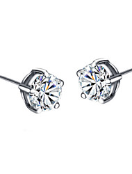 HKTC Concise Five Claws Simulated Diamond Stud Earrings Made with Austrian Crystal Stellux Jewelry