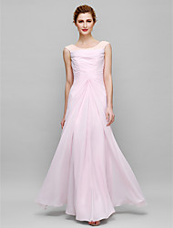 Sheath / Column Mother of the Bride Dress Floor-length Sleeveless Chiffon with Beading / Side Draping / Ruching