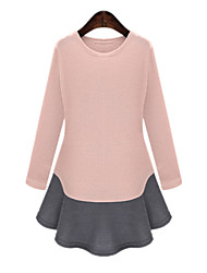 Spring Plus Size Women's Mixed Colors Splice Round Neck Long Sleeve Casual Dress Long T-Shirt