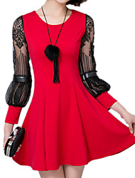 Spring Summer Women Slim Was Thin Lace Splice Round Neck Long Sleeve Casual Party / Cocktail / Work OL Dress