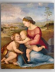картина маслом мать с двумя детьми ручной росписью холст с растянутыми рамку