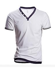 Herren Freizeit / Übergröße T-Shirt  -  Einfarbig Kurz Baumwolle
