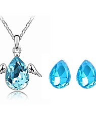 Jewelry Set Shining Crystal Elegant Angel Wing Pendant Necklace Earring Gift for Bride(Assorted Color)