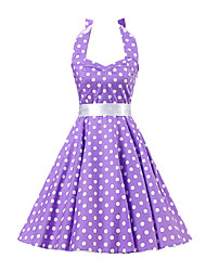 Women's Backless Purple White Polka Dot Dress,Vintage Halter 50s Rockabilly Swing Dress