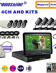 Strongshine® AHD Camera with 960P/Infrared/Waterproof and 4CH AHD DVR with 10.1 Inch LCD/2TB Surveillance HDD  Kits