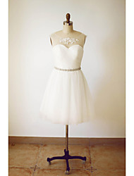 A-line Wedding Dress Knee-length Scoop Tulle with Appliques / Beading / Sash / Ribbon