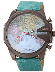 JUBAOLI Мужской Наручные часы Кварцевый Кожа Группа World Map Pattern Черный Синий