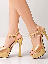 Women's Shoes Heel Heels / Peep Toe / Platform Sandals / Heels Wedding / Dress / Casual Yellow / Silver / Gold